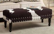 Rustic Bench Seat Cowhide Bench Ebay