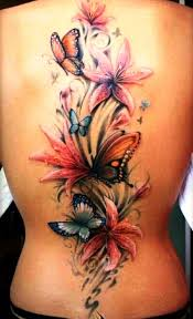 Flower Butterfly Tattoos 01 3d Butterfly And Flower Tattoos On Back Insigniatattoo Com