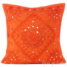 Orange Mirror Embroidered Boho Decorative Throw Pillow Bohemian