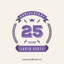 twenty fifth anniversary twenty fifth purple anniversary badge in flat style vector free