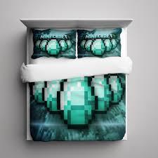 Minecraft Bed Linen - 11 minecraft creeper diamond bedding set fleece blanket pillow