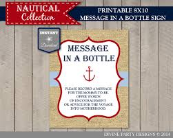 instant download printable nautical 8x10 message in a bottle