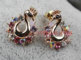 gold earrings in shape style peacock shape rhinestone gold plated hypoallergenic animal