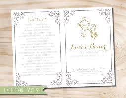 funeral bulletin angel baby child infant funeral or memorial program bulletin