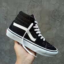 Sepatu Vans sepatu vans sk8 high black white premium dt bnib brand new in box