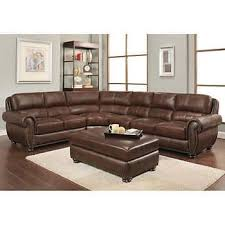 Austin Top Grain Leather Sectional With Ottoman Living Room