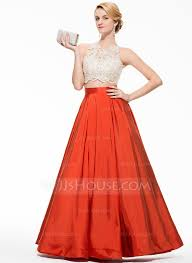 ball gown scoop neck floor length taffeta prom dress with beading