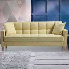 Small Space Sofa by Madison Home Usa Modern Linen Fabric Tufted Small Space Sofa