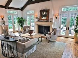craftsman living room with stone fireplace u0026 high ceiling in long