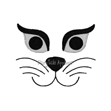 machine embroidery design halloween cat face applique