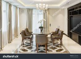 Crystal Chandeliers For Dining Room Front View Stylish Light Dining Room Stock Photo 579096448