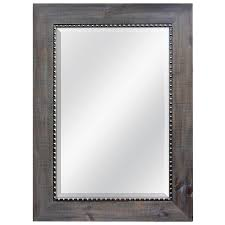 Beveled Bathroom Mirror by Shop Allen Roth Gray With Pewter Beveled Wall Mirror At Lowes Com