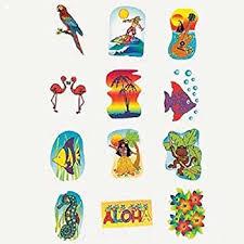 Tropical Themed Tattoos - amazon com tropical glitter temporary tattoos summer luau party
