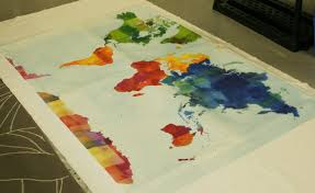Watercolor Map Of The World by Map Spoonflower Blog