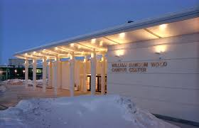 wood center entrance in winter