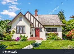 cozy house beautiful landscaping on sunny stock photo 246575596