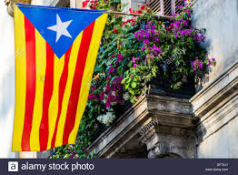 the catalan pro independence flag called estelada hang out of a