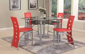 red 5 piece metro counter height set dining room sets