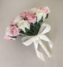 wedding flowers for bridesmaids artificial ivory pink foam wedding flowers bouquet