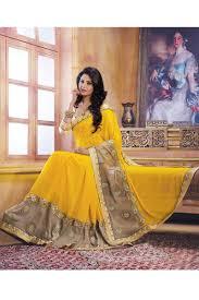 color designer yellow color designer wedding bridal lehenga saree from skysarees