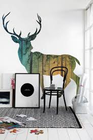 20 living rooms with beautiful wall mural designs deer and forest wall mural designed for white living room accentuated by sunlight coming from large