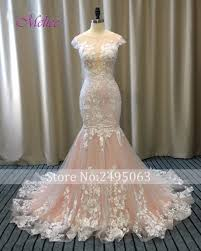 pink embroidered wedding dress melice backless applique mermaid wedding dress 2018