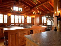 decor exposed beams and chandelier with kitchen cabinets also