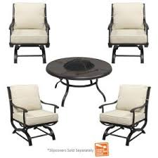 Hampton Bay Fire Pit Replacement Parts by Hampton Bay Redwood Valley 5 Piece Patio Fire Pit Seating Set With