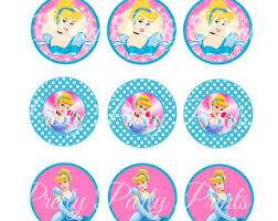 cinderella cupcake toppers flower digital 2 inch circle flower image floral party tag party