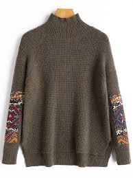 high sweaters patch high neck sweater coffee sweaters one size zaful