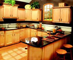 u shaped untreated oak wood kitchen cabinet combined with wooden