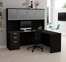 Modern L Shape Desk Modern L Shaped Desk Hutch With Frosted Glass Doors In Gray