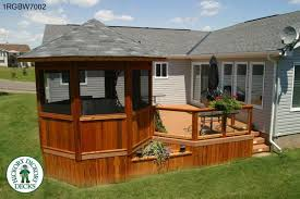 Large Single Level Deck With A Gazebo And Planters RGBW - Backyard deck designs plans