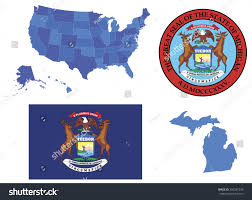 Detailed Map Of Michigan Vector Illustration Michigan State Contains High Stock Vector
