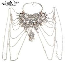 metal flower necklace images Silver charm head chain jpg