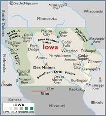 Iowa mountains images Iowa large color map gif
