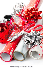 gift wrapping paper bows and ribbons stock photo
