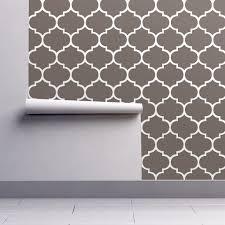 fancy lattice dark warm grey and white wallpaper zoetdesign