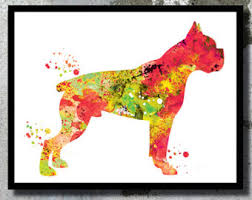 boxer dog wall art boxer painting etsy