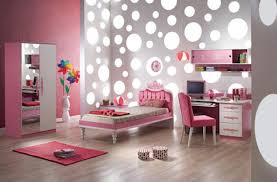 bedroom pink bedroom with grey partition with glowing polka dots