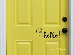 hello decal front door greeting wall decal vinyl lettering zoom