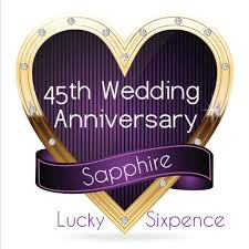 45th wedding anniversary lucky sixpence coin sapphire 45th wedding anniversary gift great