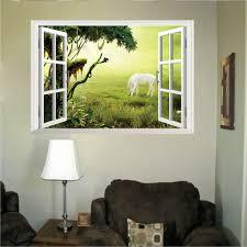 stickers trompe oeil mural trompe l u0027oeil fenêtre sur la prairie