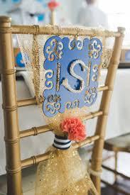 diy glamorous nautical wedding monogram chair backer wedding
