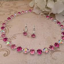 swarovski necklace pink images Shop swarovski crystal bridal necklace on wanelo jpg