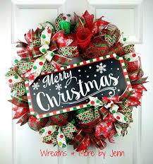 christmas deco mesh wreath merry christmas wreath holiday wreath