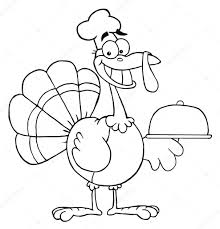 outlined happy turkey chef serving a platter u2014 stock photo