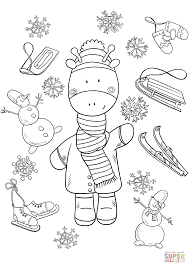 baby giraffe in winter coloring page free printable coloring pages
