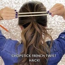 hair plait with chopstick chopstick french twist hack mwhairstyles hair ideas tips
