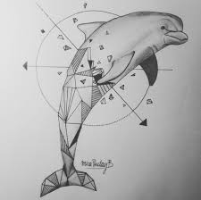 dolphin art dolphin print geometric dolphin by lotusleafcreations